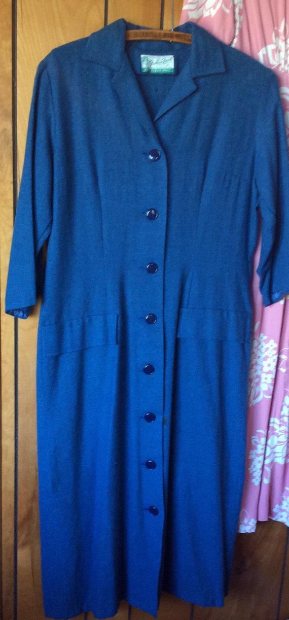 BLUE WOOL DRESS vintage frock, antique 1940s era,