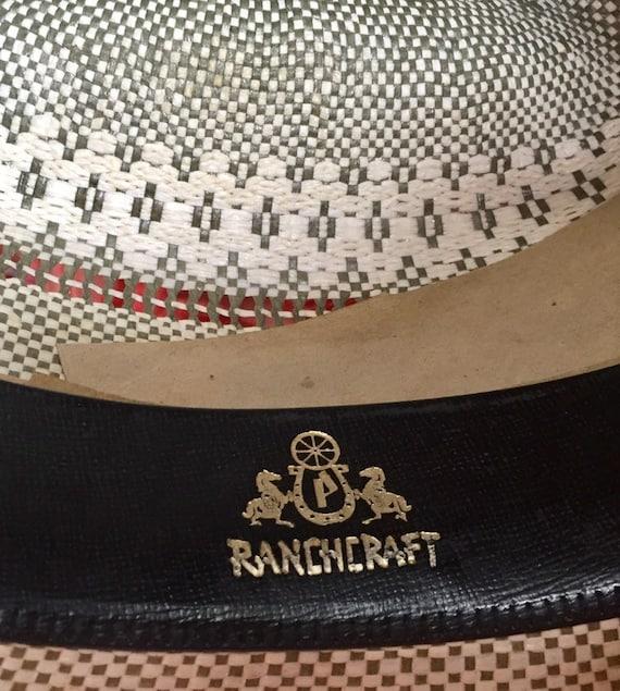 VINTAGE COWBOY HAT straw ranchcraft summer farm h… - image 7