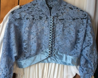 VINTAGE LACE TOP, bolero jacket, 1950s, dressy blue, buttons, shrug, blouse, crop top