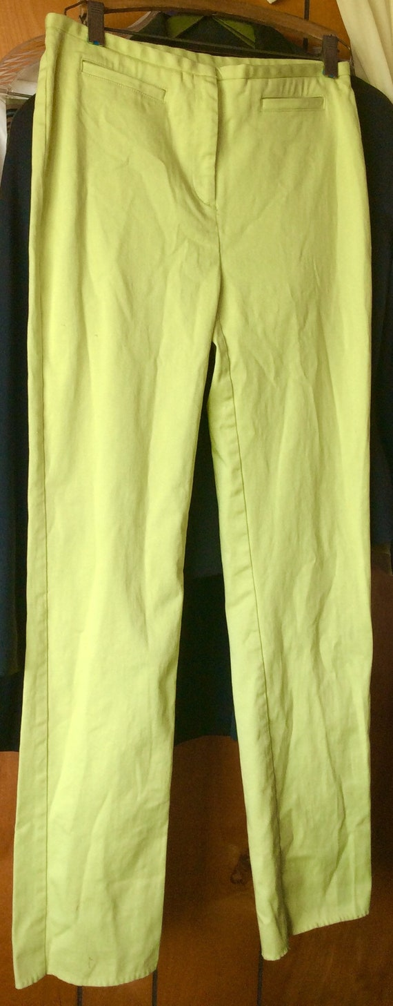90s Chartreuse Lime Green Military Structured 2 Piece Separates Set Button Up Silky Tank Top Blouse Culottes High Waist Shorts Minimal Set