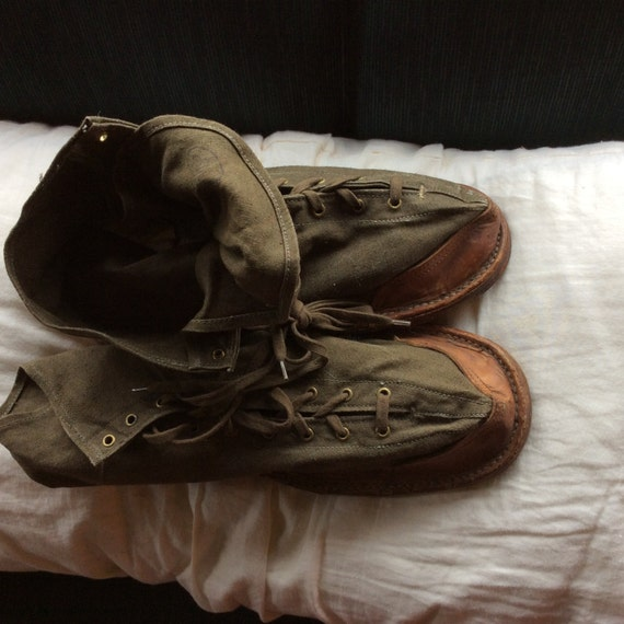 FRENCH ICE SHOES, Vintage W W ll, canvas, leather,