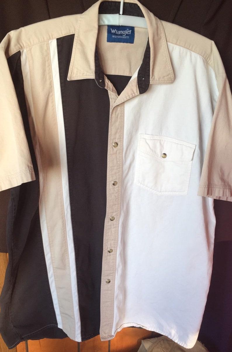 M Tan Stripe WRANGLER Mens EMBROIDERED YOKE Shirt