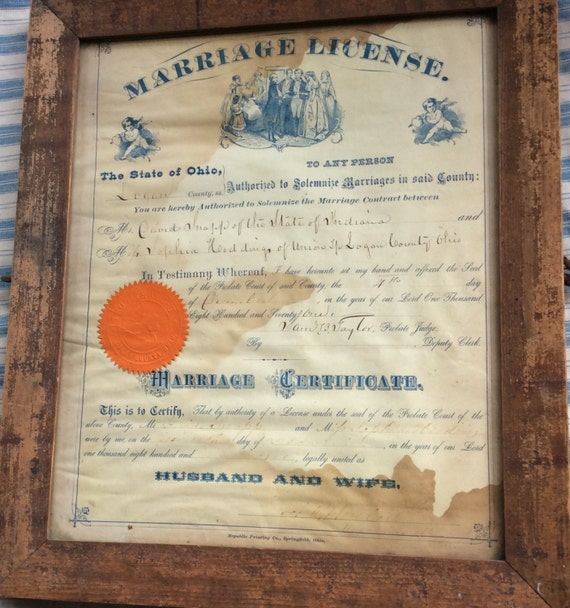 Antique Marriage Certificate 1871 Vintage Marriage License Etsy