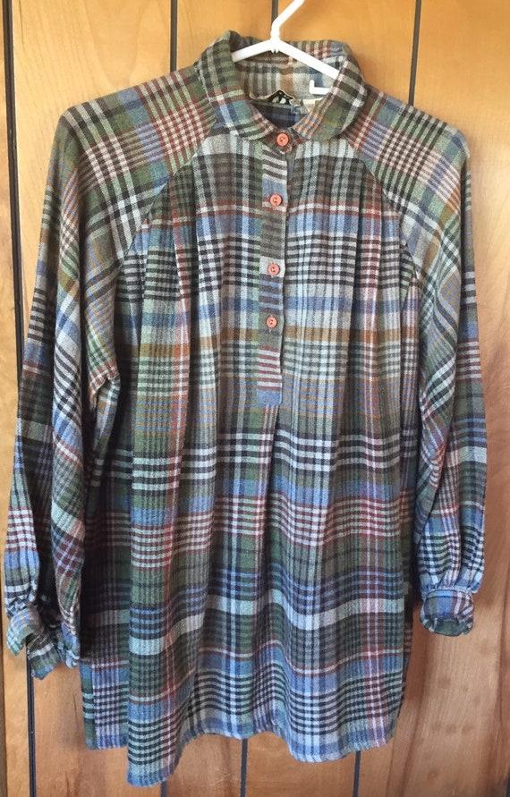 PLAID POET SHIRT vintage smock style pullover, uni