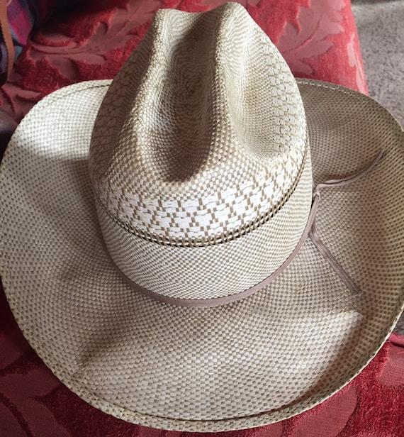 VINTAGE COWBOY HAT straw ranchcraft summer farm h… - image 1