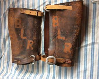 Now 20% off VINTAGE LEATHER GAITERS, shin guards, leg wear, costume, hipster