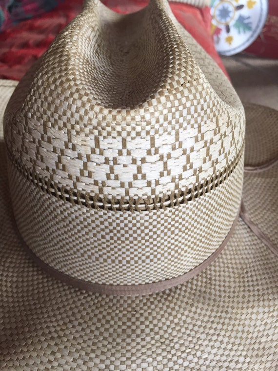 VINTAGE COWBOY HAT straw ranchcraft summer farm h… - image 2