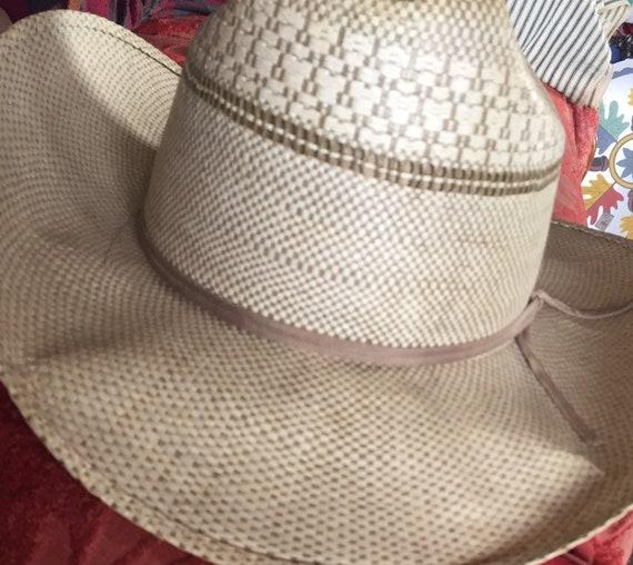 VINTAGE COWBOY HAT straw ranchcraft summer farm h… - image 6