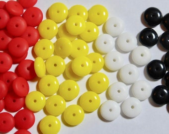 Assorted Colors Vintage Opaque Smooth Rondelle Wheel Beads 6x2mm 50