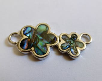 Vintage Silver Plated Link - Two Paua Shells in Floral Shape  31x19mm  (1)