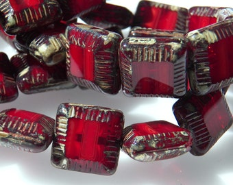Czech Dark Red with Picasso 13mm Beveled Puffed Square Glass Beads (10) 0895
