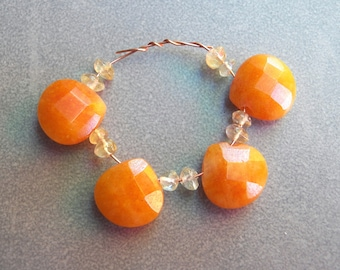 Set of 4 Faceted Honey Calcite Teardrop Gemstone Beads