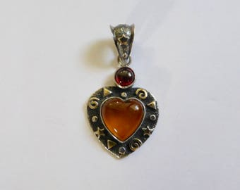 Sterling Silver & 22kt Gold with Amber Gemstone and Garnet Cab Heart Pendant   34x18mm (1)