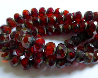 Czech Red and Orange with Picasso Glass Rondelle Beads 6x8mm (25) 1352