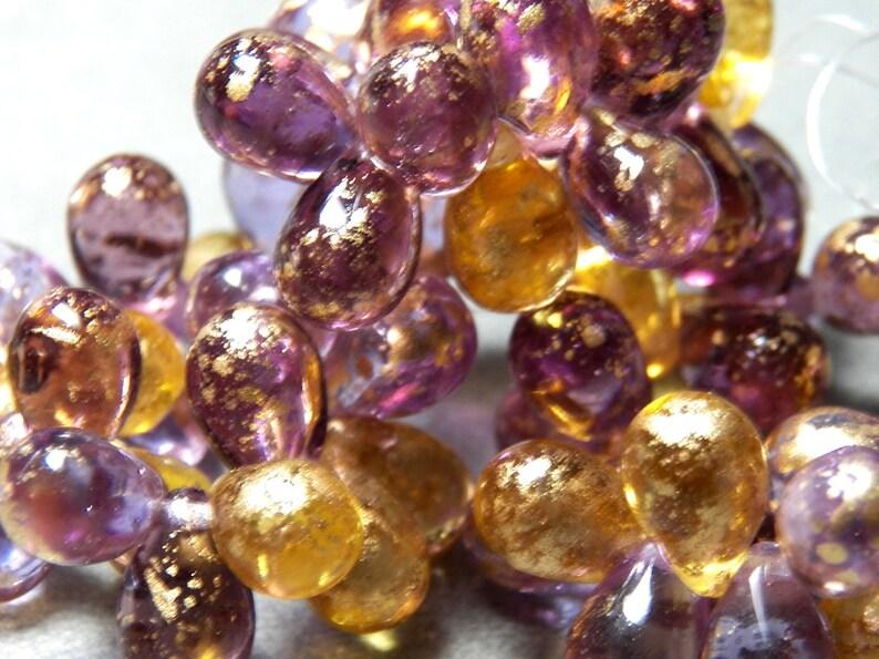 0203-P 24 Czech Purple and Gold Mixed Glass Teardrop Beads  9x6mm