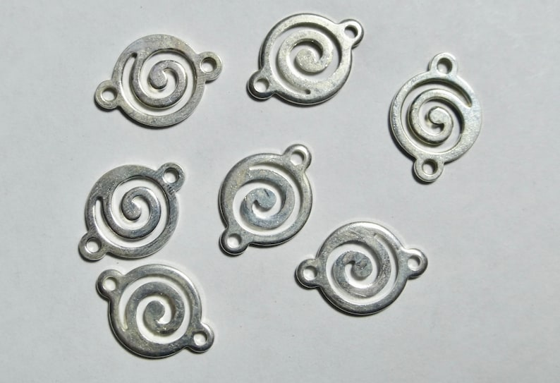10 Silver Plated Round Swirl Connector  Link  13mm
