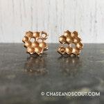 Honeycomb Cuff Links Bronze, beehive cufflinks