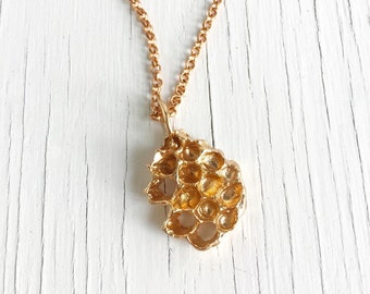 Honeycomb Necklace, Beehive Pendant, Bronze Honeycomb Necklace, bee necklace, Honeycomb Jewelry, Handmade in Austin, Natural Honeycomb