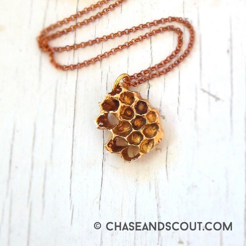 Real Honeycomb Necklace beehive pendant image 0