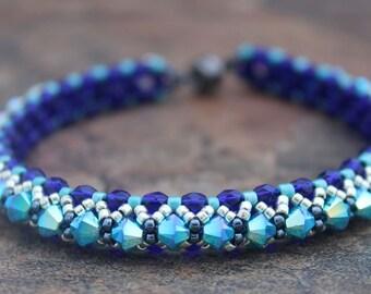 Swarovski Crystal Tennis Bracelet in Cobalt and Turquoise