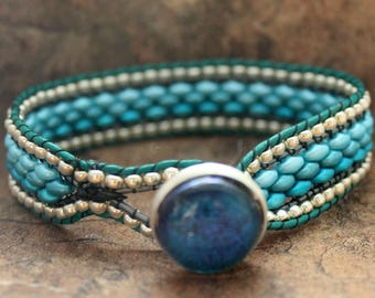 Handmade Leather Bracelet in an Ombre Style with Blue Superduos