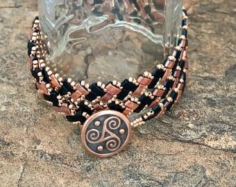 Black and Copper Handmade Herringbone Triple Wrap Bracelet