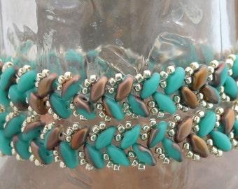 Copper and Turquoise Handmade Herringbone Double Wrap Bracelet