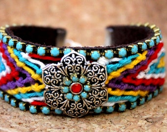 Colorful Leather Friendship Embellished Cuff Bracelet