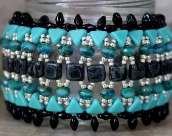 Handmade Wide Beaded Cuff Bracelet