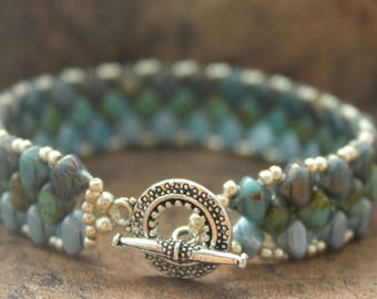 Handmade Silky Diamond Bracelet in Blue, Turquoise and Silver