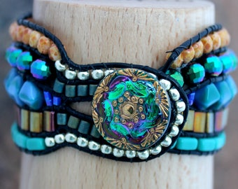 One of a Kind Handmade Leather Beaded Cuff
