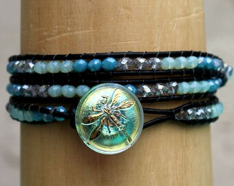 Triple Leather Wrap Crystal Bracelet with Dragonfly Button Closure