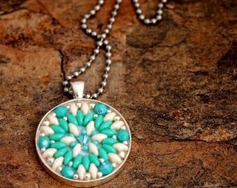 Ivory and Turquoise Beaded Mosaic Pendant Necklace