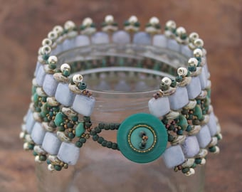 Handmade Wide Beaded Cuff in Light Blue Tilas with Turquoise and Silver Superduos