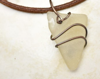 Sea Glass Arrowhead Shape Wrapped with Copper on Leather