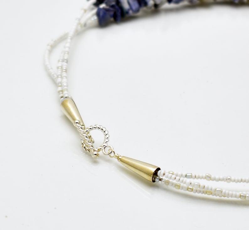 Denim Stone Chunk Three Strand Necklace nd08