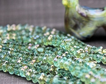 Czech glass beads Baby  Bell Flowers Aquamarine / Celsian  4/6mm