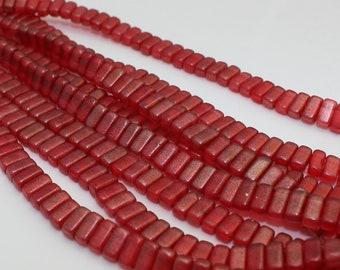 Czech Glass Beads - CzechMates Bricks Bead 3/6mm : Halo Cardinal Red