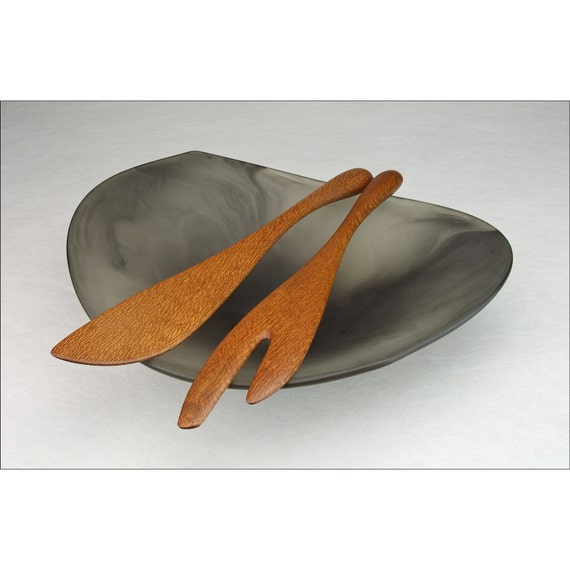 Large Salad Servers in Silky Oak - Serving Tongs Spoons - Contemporary Wood Design - Left or Right Hand - Crafted by Someone Who Cooks featured image