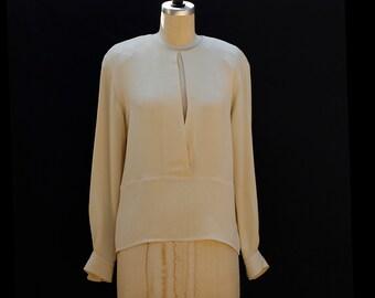 c02231cf25bc1 Vintage Beige Silk Dressy Blouse
