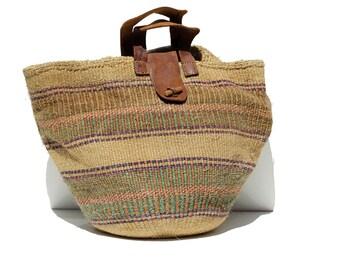 Vintage Striped Large Woven Natural Jute Market Bag