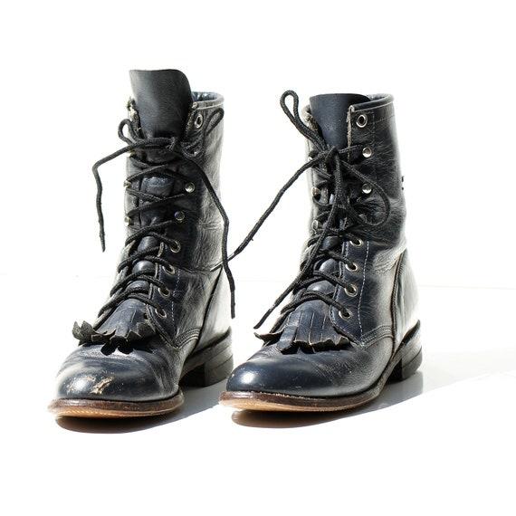 fashion design choose original enjoy free shipping Size: 7 / Vintage Women's Navy Blue Lace Ankle Boots