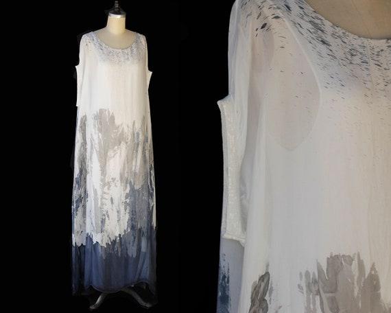 Vintage Sheer Tie Die Caftan Dress
