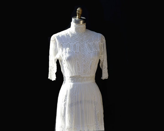 Antique White Cotton Lace Dress
