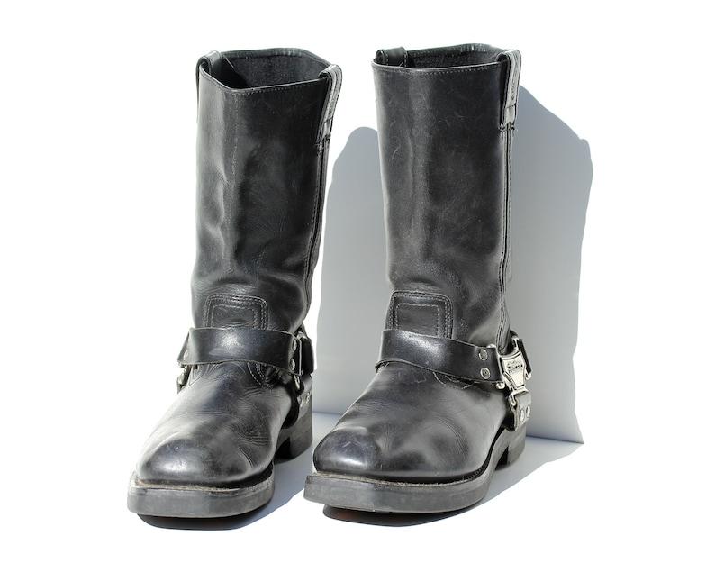 145e238ca8ead8 Vintage Harley Davidson Black Leather Campus Biker Boots