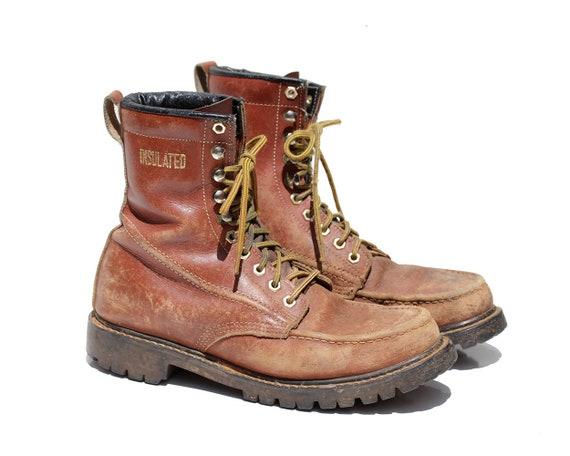 fd7301982c675 Size: 10 / Vintage Men's Burgundy Leather Boots