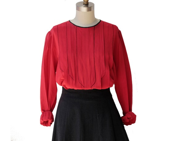 Vintage Red Pure Silk Pleated Blouses