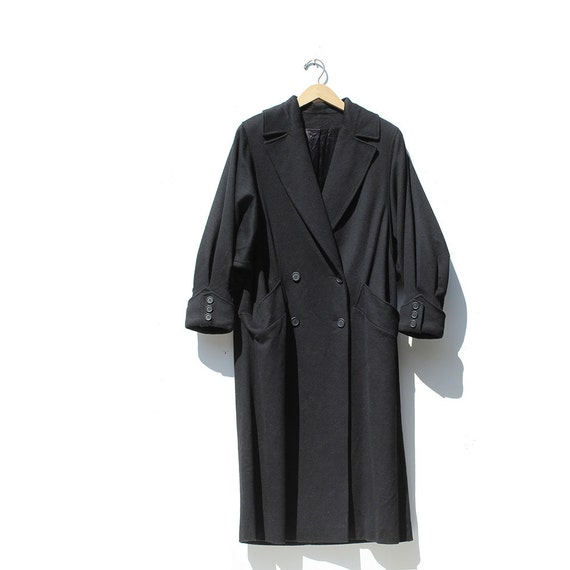Vintage Black Pure Wool Voluminous Oversized Coat