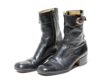Vintage Women's Black Leather Side Zipper Boots / size 9