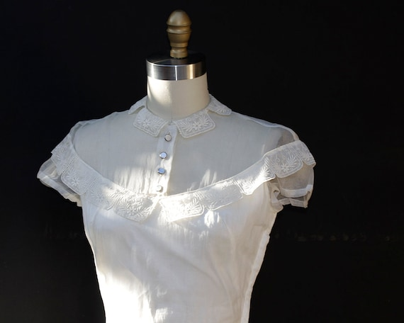 Vintage White Organza Dress